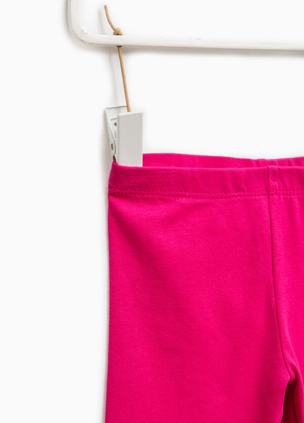 Solid colour stretch cotton leggings | OVS