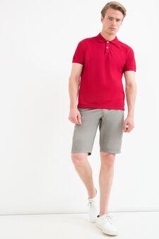 100% cotton Bermuda chinos with drawstring, Grey, hi-res