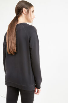 Cotton blend printed sweatshirt, Black, hi-res