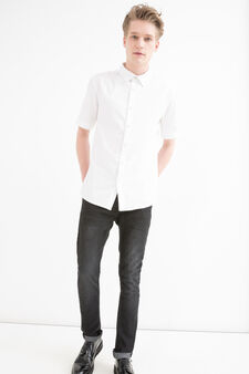 Camicia cotone bottoni madreperla, Bianco, hi-res