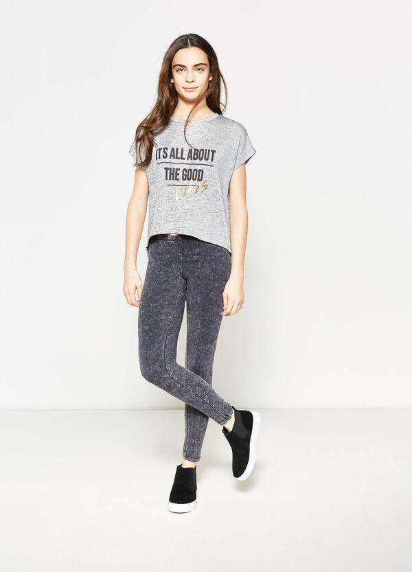 Camiseta elástica y jaspeada con estampado Teen | OVS