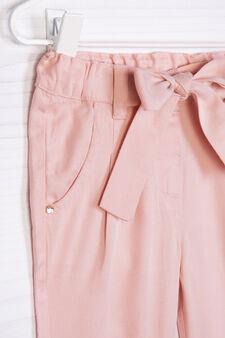 Pantaloni con fiocco tinta unita, Rosa scuro, hi-res