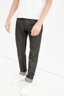 Jeans straight fit con risvolto, Nero, hi-res