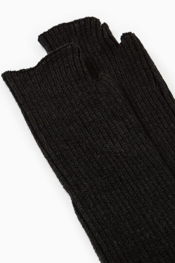 Long fingerless gloves, Black, hi-res