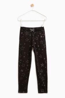 Pantaloni tuta con stelle glitterate, Nero, hi-res