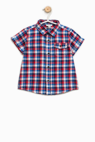 Short-sleeved shirt with check pattern, Blue/Green, hi-res