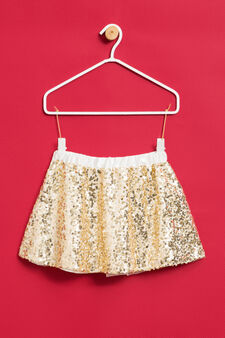 Gonna in tulle con paillettes, Bianco latte, hi-res