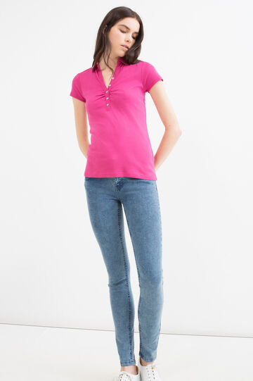 Solid colour polo shirt in 100% cotton, Fuchsia, hi-res