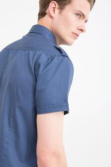 Camicia puro cotone tinta unita, Blu, hi-res