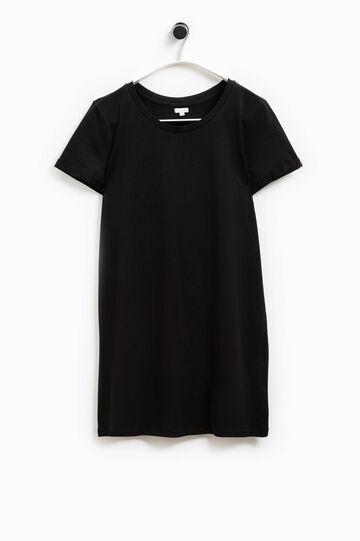 Camiseta larga en algodón 100% Smart Basic, Negro, hi-res