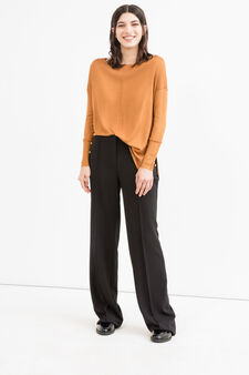 Viscose cotton blend pullover with splits, Brown, hi-res