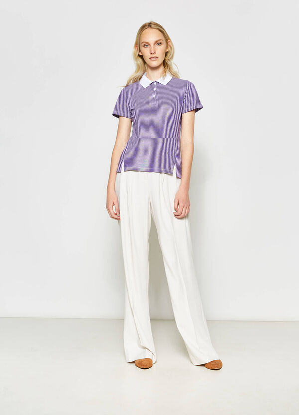 Striped stretch cotton polo shirt | OVS