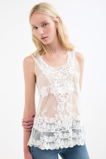 Top in 100% cotton lace, Cream White, hi-res
