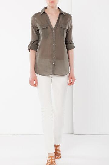 Camicia con colletto e pinces, Verde militare, hi-res