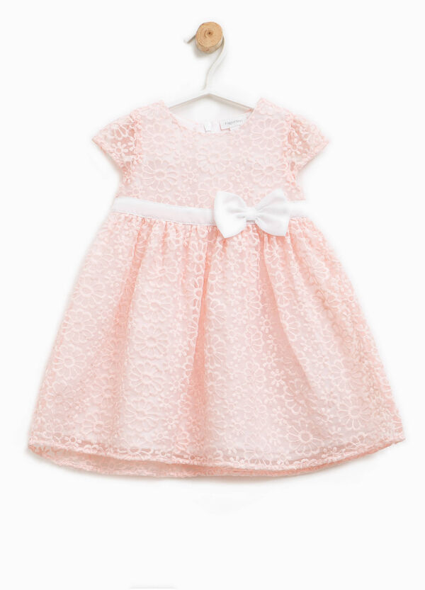 Dress with raised flowers and bow | OVS