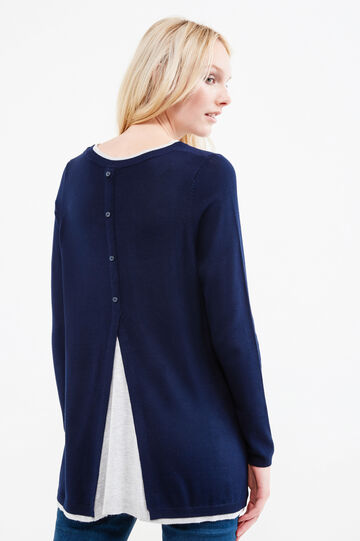 Pullover with contrasting faux layer, Navy Blue, hi-res