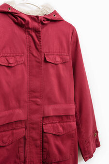 Solid colour parka with fur lining, Claret Red, hi-res