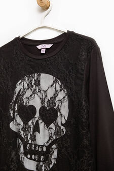 T-shirt puro cotone stampa teschio, Grigio, hi-res