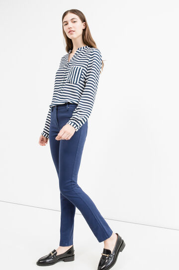 Stretch cotton trousers with high waist, Navy Blue, hi-res