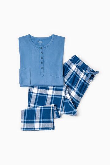 Patterned pyjamas in 100% cotton, Denim, hi-res