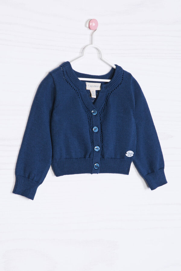 Solid colour 100% cotton cardigan. | OVS