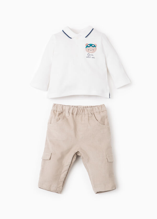 Embroidered polo shirt and trousers set | OVS