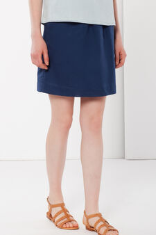 Linen miniskirt with elastic, Deep Blue, hi-res