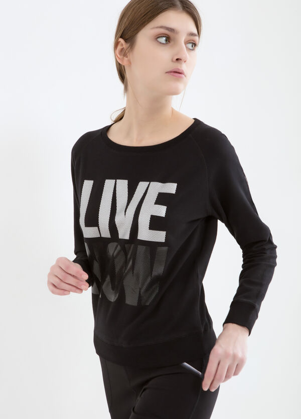 Stretch cotton printed sweatshirt | OVS