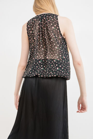 V-neck top with floral print, Black, hi-res