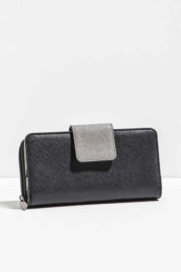 Saffiano-effect two-tone purse