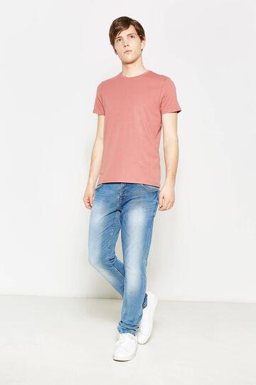 T-shirt in puro cotone tinta unita, Rosso mattone, hi-res