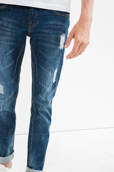 Jeans stretch used con strappi, Denim, hi-res