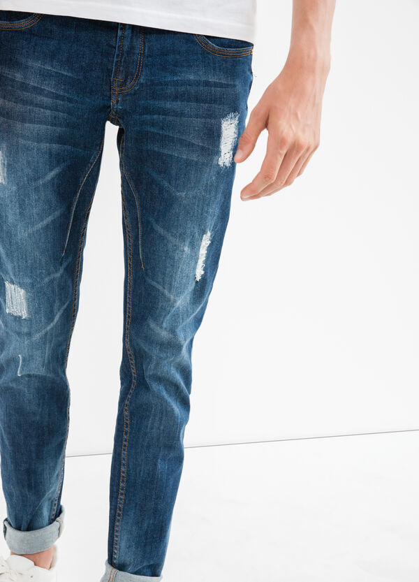 Worn-effect, stretch ripped jeans | OVS