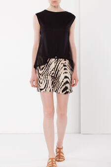 Animal print stretch shorts, Multicolour, hi-res