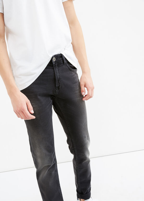 Faded, worn-effect slim-fit stretch jeans | OVS