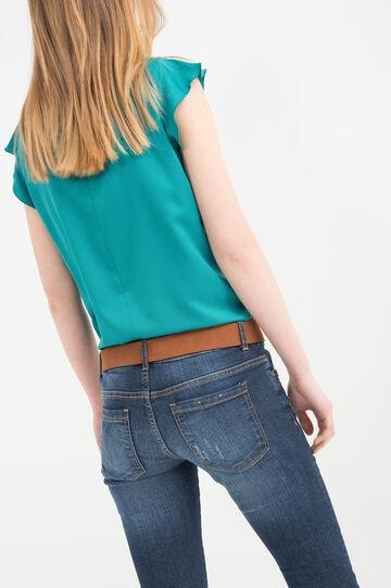 Round-neck patterned blouse, Jade Green, hi-res
