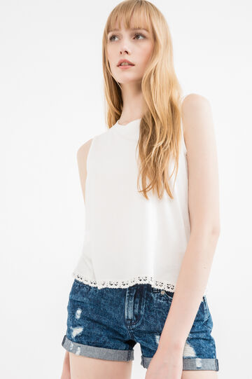 100% cotton vest top with insert, White, hi-res