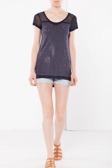 T-shirt con strass, Blu, hi-res