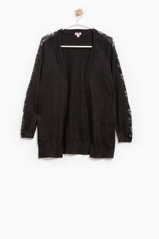 Cardigan with lace and double pocket, Black, hi-res