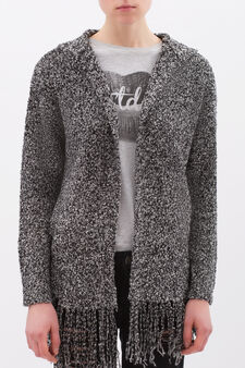 Cardigan with buttonless opening, White/Black, hi-res