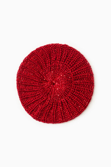 Sequinned beanie cap, Dark Red, hi-res