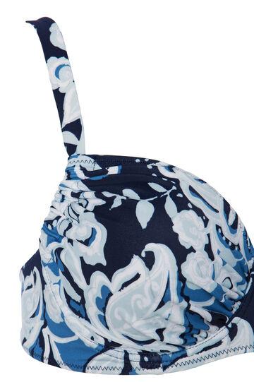 Curvy stretch patterned bikini top, Blue, hi-res