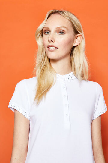 Polo shirt with polka dot inserts