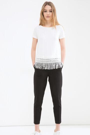 Blusa stretch con frange, Bianco sporco, hi-res
