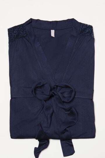 100% viscose dressing gown with belt, Denim Blue, hi-res
