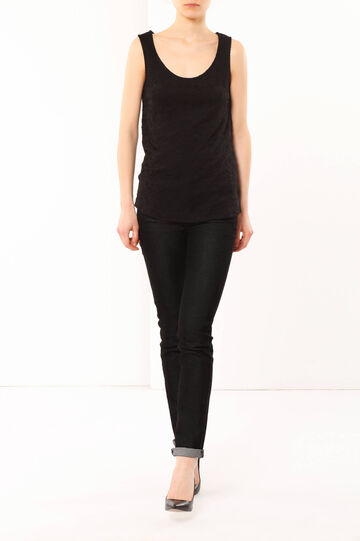 Embroidered tank top, Black, hi-res
