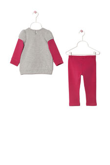 Printed stretch cotton outfit, Grey Marl, hi-res