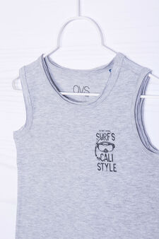 Solid colour 100% cotton vest, Grey Marl, hi-res