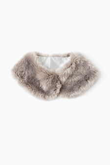 Fur neck warmer, Grey, hi-res
