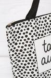 Handbag with polka dot pattern, Black/White, hi-res